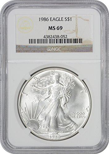 (1986 American Silver Eagle Dollar MS69 NGC )