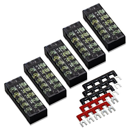 10pcs(5 Sets) 5 Positions Dual Row 600V 25A Screw Terminal Strip Blocks with Cover + 400V 25A 5 Positions Pre-Insulated Terminal Barrier Strip (Black/Red) by MILAPEAK