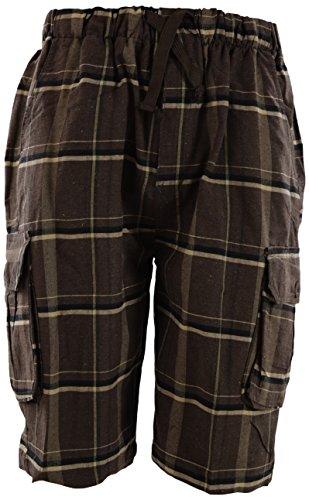 - Mens Checkered Plaid Shorts with Elastic Waist Band (Many Patterns) (2XL, 18-Brown)