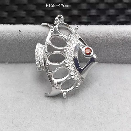 925 sterling silver necklace pendant mountings women girls money necklace pendant mountings oval necklace pendant women girls models small fish dead DIY asked on behalf mosaic