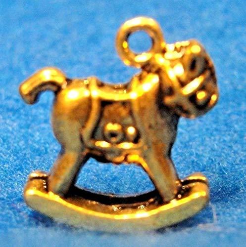 Bulgari Yellow Bracelet - 25Pcs. Wholesale Tibetan Antique Gold 3D Rockinghorse Charms Pendants Q0159 Crafting Key Chain Bracelet Necklace Jewelry Accessories Pendants