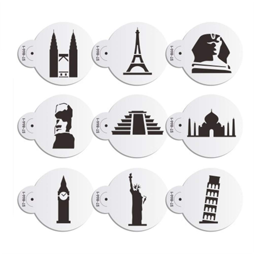 AK ART KITCHENWARE 9 pcs/set Eiffel Tower Cookie Stencils for Royal Icing Plastic Cupcake Stencil Decorative Stencils Petronas Twin Towers Stencil for Cake Stencils Cappuccino Coffee Art Stencil Pastry Baking Tools Bakeware ST-866