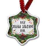 Christmas Ornament Happy Floral Border College Student - Neonblond