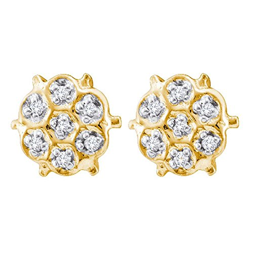 10kt Yellow Gold Womens Round Prong-set Diamond Cluster Stud Earrings 1/20 Cttw Round Prong Set Cluster Earrings