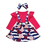 NUWFOR 3Pcs Toddler Infant Baby Girls Solid Ruffle Tops Floral Strap Skirt Clothing Set(Hot Pink,6-12 Months