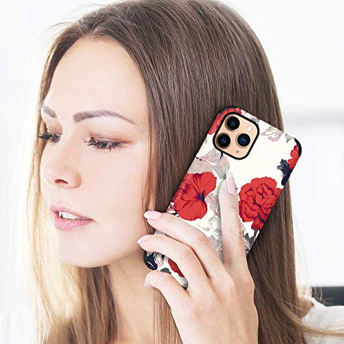CUSTYPE Case for iPhone 11 Pro Max Case, iPhone 11 Pro Max Case Floral Peonies Flower Design Girls Women Leather Bumper Soft Flexible TPU Shockproof Protective Cover for iPhone 11 Pro Max 6.5''
