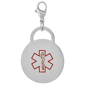 Surgical Steel Medical Alert Type 2 Diabetic Charm / Pendant Bracelet 1 Inch Round
