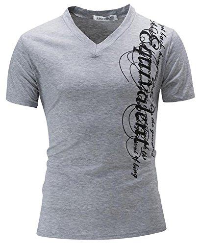 最悪ローマ人活性化する(SGL Collection) Tシャツ メンズ 半袖 デザイン プリント ロゴ アルファベット スリムフィット Vネック 3色選択 大きい サイズ あり S ~ XXL 【 日本向け オリジナル サイズ仕様 】