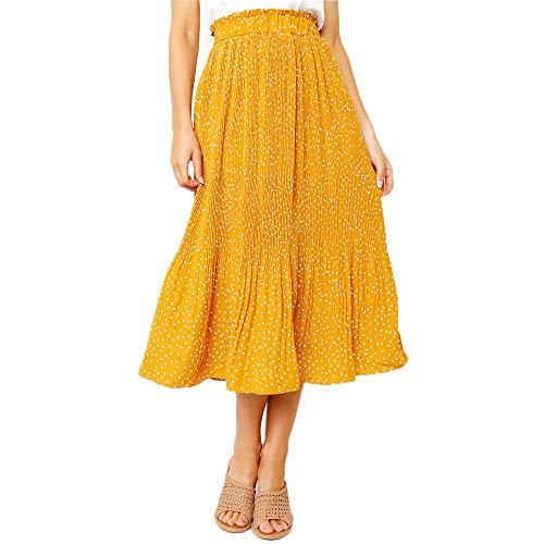 Exlura Womens High Waist Polka Dot Pleated Skirt Midi Swing Skirt with Pockets Yellow