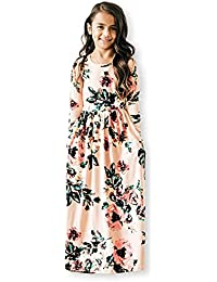 Girls Floral Maxi Dress,Kids Casual 3/4 Sleeve T Shirt Dresses Pocket for Toddlers 6-12