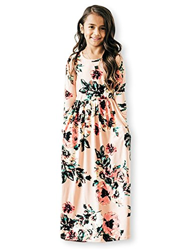 (21KIDS Girls Floral Flared Pocket Maxi Three-Quarter Sleeves Holiday Long Dress,Pink,12)