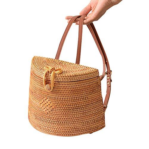 femmes arche sac bandoulière Sac en bandoulière les main paille à sac pour d'été sac sac bambou bambou circulaire à main tout lune sac yunt demi de fourre sac ppvSq0n