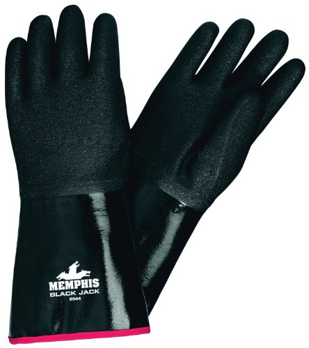 "MCR Safety 6944 Black Jack 14"" Neoprene Gloves, Brushed Interlock with Etched Rough Finish and Gauntlet Cuff, Large, 1-Pair"
