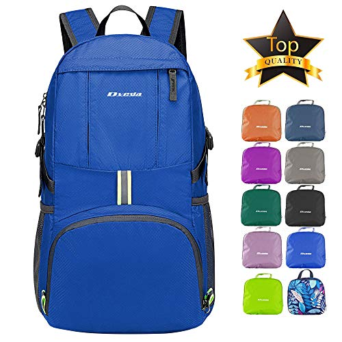 DVEDA Ultra Lightweight Packable Backpack, 35L Large Capacity Water Resistant Hiking Daypack Foldable Travel Backpack for Men Women Outdoor,Blue (Best 35 Liter Backpack)