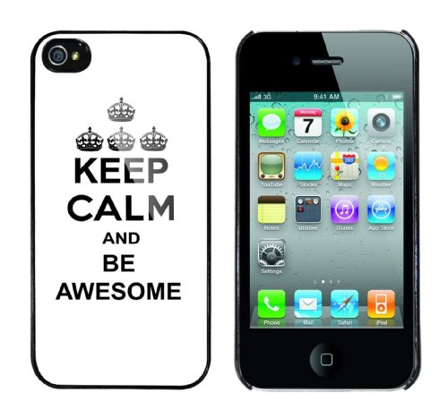 Iphone 4 Case Keep Calm and be awesome Rahmen schwarz