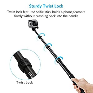 Camera Tripod, Moreslan Extendable Aluminum Bluetooth Selfie Stick 360 Degree Adjustable Monopod Stand with Remote Control for Cell Phone (Smartphone), Gopro and Digital Cameras - Black