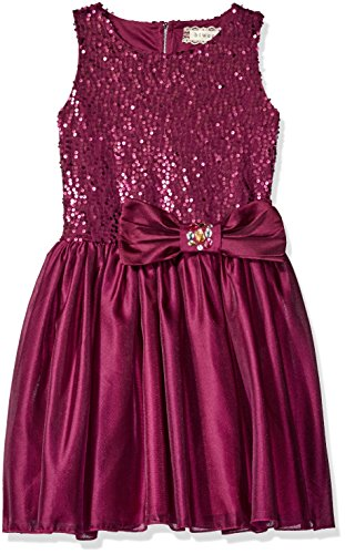 BTween Big Girls' Sequin Special Occasion Satin Dress with Jeweled Bow, Magenta, (Purple Jeweled Dress)