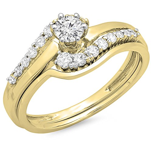 Dazzlingrock Collection 0.55 Carat (ctw) 14K Round Diamond Ladies Twisted Style Bridal Ring Set 1/2 CT, Yellow Gold, Size 7
