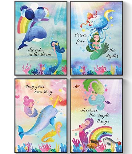 Mermaids Little Girls Posters Room Decor, Under The Sea Mermaid Decorations, Sister Bathroom Wall Art Set of 4
