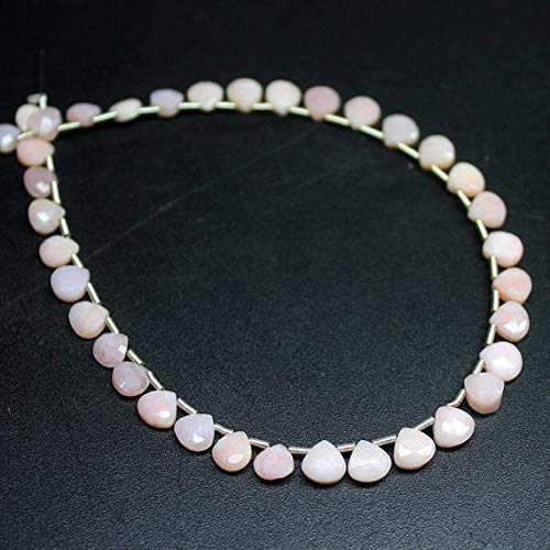 Natural Pink Opal Faceted Heart Drop Briolette Gemstone Loose Craft Beads Strand 8
