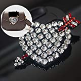 SMALL-CHIPINC - 1Pcs Luxury Rhinestone Love heart sword Patch for Clothing Sewing on Beading Applique Clothes Bags Decoration Patch DIY Apparel