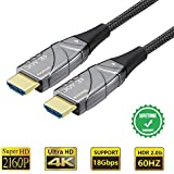 Fiber HDMI Cable Optical Slim 4K 30FT,4K60HZ HDR Light Speed HDMI2.0b Cable, Supports 18.2 Gbps, ARC, HDR10, Dolby Vision, HDCP2.2, 4:4:4,Ultra Slim and Flexible HDMI Optic Cable with Optic Technology
