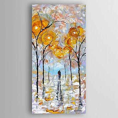 WSJ Dipinta a mano Astratto Paesaggi astratti Verticale,Modern Un Pannello Tela Hang-Dipinto ad olio For Decorazioni per la casa, include inner frame, 18 x 36 18 x 36 wexe