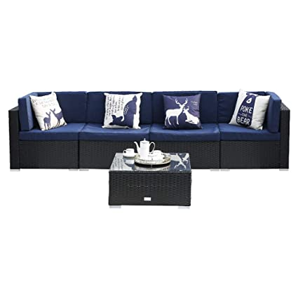 Amazon Com Used Sofas Couches Living Room Furniture >> Eclife Outdoor Rattan Sofa 5 Pcs Set Patio Pe Wicker Black Sofa Couch Furniture Set Removable Cushions W 4 Pillows W Tea Table 5pcs Dark Blue