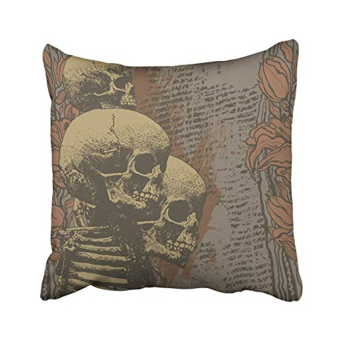 Jidmerrnm 18X18 Inch Throw Pillow Cover Polyester Halloween Floral with Skulls Engraved Retro Style Vintage Music Abstract Alternative Angry Cushion Decorative Pillowcase Square for Home -