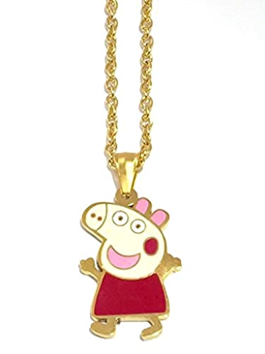 Amazon necklace peppa pig charm with gold chain jewelry necklace peppa pig charm with gold chain mozeypictures Gallery