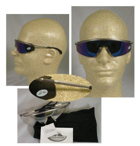 MCR Sicherheit T3118B Triwear aus Metall, Platinum, Schutzbrille und Blue Diamond, verspiegelte Doppelscheibe von MCR Sicherheit