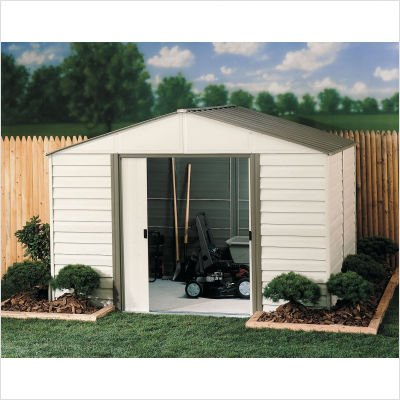 Arrow Vinyl Milford High Gable Steel Storage Shed, Grey Bark/Almond, 10 x 12 ft. by Arrow