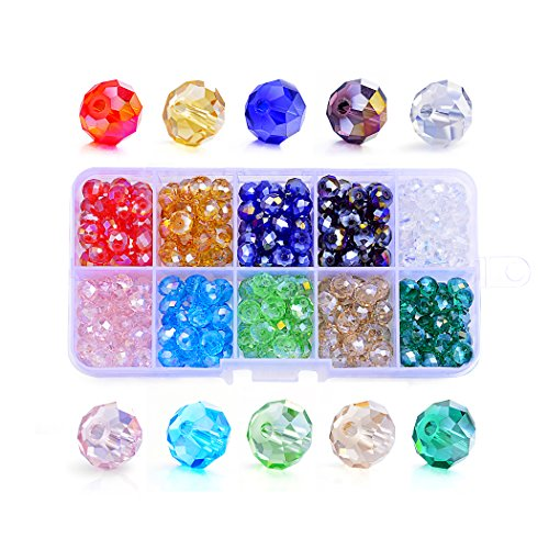 Sromay Wholesale 150Pcs 10mm Briolette Faceted AB Crystal Glass Beads for Jewelry Making Findings with Bead Container #5040 Briollete Rondelle Assorted ()