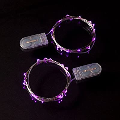 RTGS 2 Sets 15 Pink Color Micro LED String Lights Battery Operated on 6 Feet Silver Wire