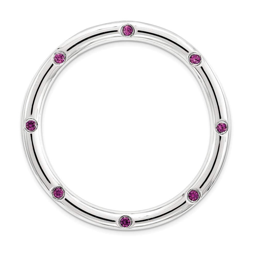 FB Jewels Solid 925 Sterling Silver Stackable Expre925 Sterling Silverions Large Rhodolite Garnet Chain Slide