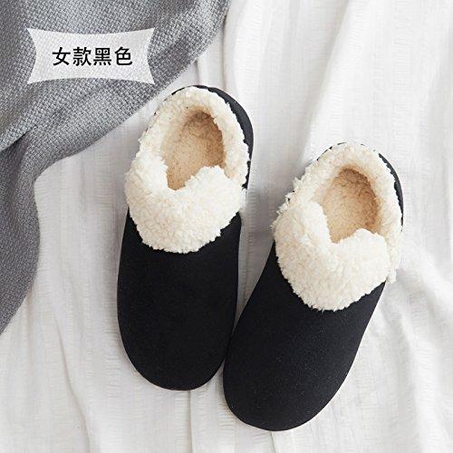 Maison Fankou Coton Pantoufles Femmes Couple Hiver Couverture Épaisse, Pantoufles Chaudes Antidérapantes Hommes Et, 43-44, Noir