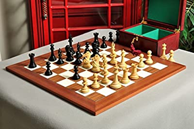 """The House of Staunton The Leicester Series Chess Set, Box, Board Combination - 4.0"""" King - Ebonized Boxwood & Natural Boxwood"""