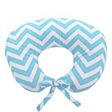 My Blankee Nursing Pillow with Chevron Minky Slipcover, Aqua, Small/Medium