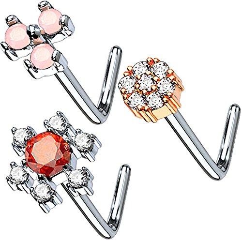 BodyJ4You 3-Pack 20G Nose Studs L Shaped Bend Stud Screw Paved CZ Flower Surgical Steel Nostril Piercing