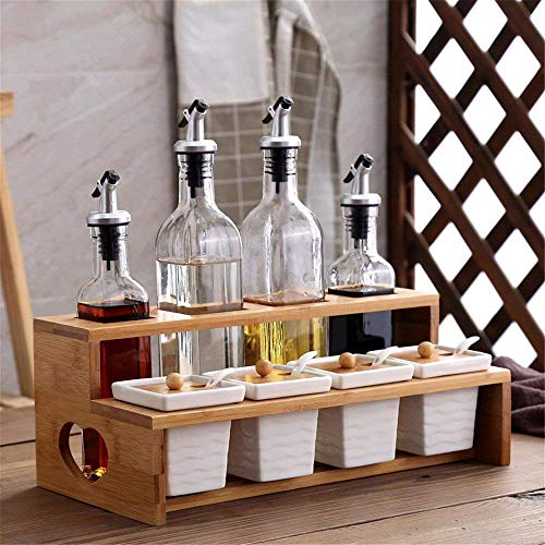 Condiment Container Spice Jar with Lids - Bamboo Cap Holder Spot, Ceramic Serving Spoon, Wooden Tray - Best Pottery Cruet Pot for Your Home, Kitchen, Counter. White,C ()
