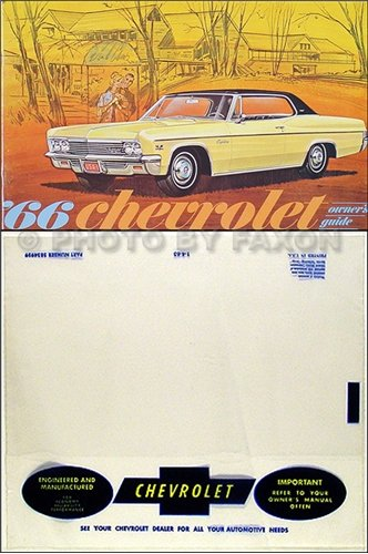 (1966 Owner Manual Reprint Package Impala, SS Bel Air Caprice Biscayne)