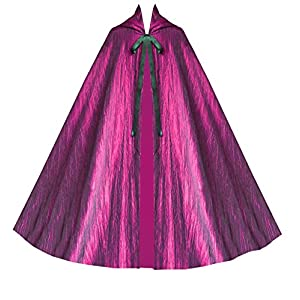 Cykxtees Historical Gothic Steampunk Victorian Hooded Renaissance Short Capelet Cloak Fuschia