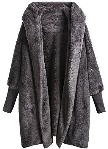 SweatyRocks Women Khaki Hooded Dolman Sleeve Faux Fur Cardigan Coat for Winter Dark Grey M - Fur Oversized Coat