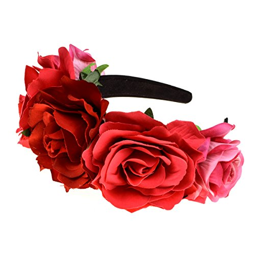 Accesyes Custom Mexican Flower Crown Day of The Dead Headpiece Hawaiian Boho Frida Floral (Red-Rose Red) ()