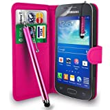 Samsung Galaxy Ace 3 S7272 /S7575 /S7270- Premium Leather Wallet Flip Case Cover Pouch + Long Touch Stylus Pen + Mini Touch Stylus Pen + Screen Protector & Polishing Cloth (AA Wallet HotPink)