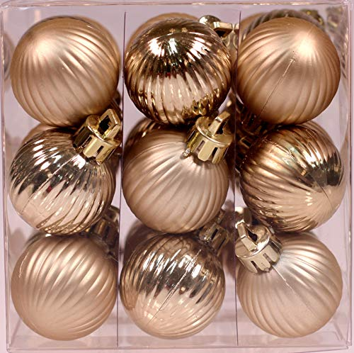 Creative Hobbies 27-Pack of Mini Christmas Tree Ornaments - 1 Inch Shatterproof Petite Christmas Balls Decoration, Gold Colors, Hanging Plastic Bauble Holiday Decor