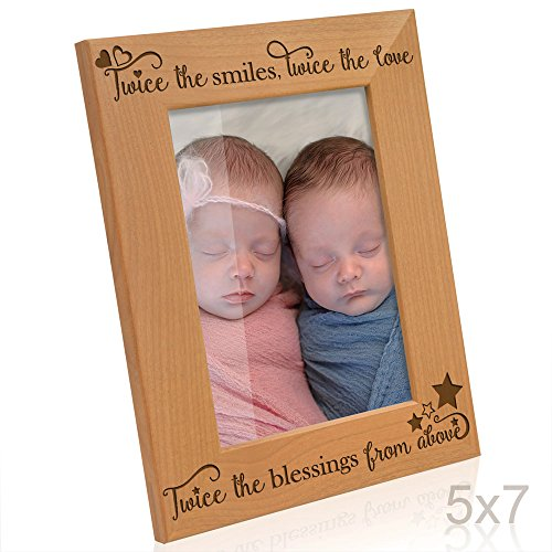 Kate Posh - Twice The Smiles, Twice The Love, Twice The Blessings from Above - Engraved Natural Wood Photo Frame - Twins Picture Frame, Twins Gifts for Babies, Twins Gifts for mom (5x7-Vertical)