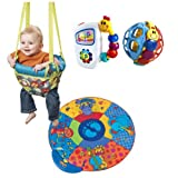 Evenflo Johnny Jump Up Doorway Jumper with Musical Mat & Baby Einstein Activity Toys