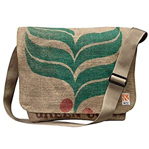 Eco-Friendly, Upcycled Coffee Bean Burlap Crossbody/Messenger Bag With Adjustable Webbed Handles By Sackcloth & Ashes (Holly)