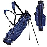Eosphor US Golf Club Carry Cart Stand Bag 4 Way Divider Carry Organizer Pockets Storage Shoulder Strap Walking Golfers | Blue